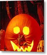 Carved Pumpkin With Fall Leaves Metal Print