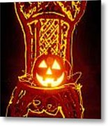 Carved Smiling Pumpkin On Chair Metal Print