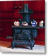 Cast Iron Stove With Teapots Metal Print