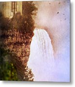 Castle At The Edge Of The Falls Metal Print