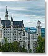 Castle Neuschwanstein With Surrounding Landscape Metal Print