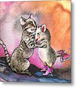 Cat And Mouse Reunited Metal Print
