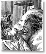 Cat Watching Sleeping Man, Artwork Metal Print