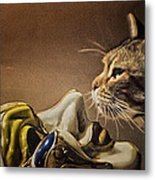 Cat With Venetian Mask Metal Print