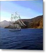 Catalina Shoreline Ghost Ship Metal Print
