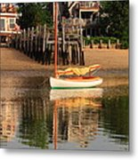 Catboat And Rippled Water Reflections Metal Print