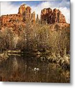 Cathedral Rock Reflections Portrait 1 Metal Print by Darcy Michaelchuk