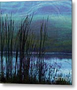 Cattails In Mist Metal Print