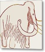 Cave Painting Of A Mammoth, Artwork Metal Print
