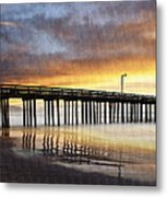 Cayucos Pier Reflected Metal Print
