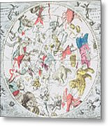 Celestial Planisphere Showing The Signs Of The Zodiac Metal Print by Andreas Cellarius