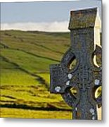 Celtic Cross In A Cemetery Metal Print