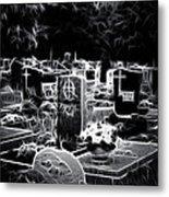 Cemetary At Night Metal Print by Ellen Heaverlo