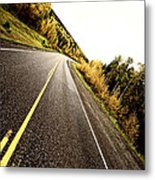 Center Lines Along A Paved Road In Autumn Metal Print