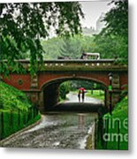 Central Park In The Rain Metal Print