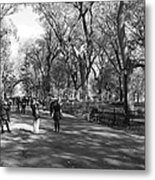 Central Park Mall In Black And White Metal Print