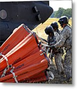 Ch-47 Chinook Helicopter Crew Prepare Metal Print