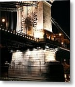 Chain Bridge At Night Metal Print