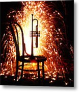 Chair And Horn With Fireworks Metal Print