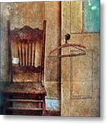 Chair By Open Door Metal Print
