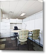 Chairs And Desk In Office Cubicle Metal Print
