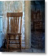 Chairs In Rundown House Metal Print