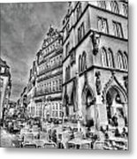 Chairs In The Square Metal Print