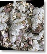 Chalcopyrite And Quartz Crystals Metal Print