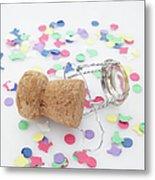 Champagne Cork And Confetti Metal Print