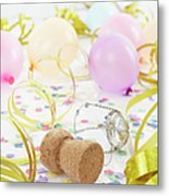 Champagne Cork, Ballons And Streamers Metal Print