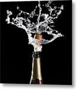Champagne Cork Explosion Metal Print by Gualtiero Boffi
