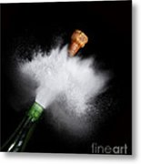 Champagne Cork Popping Metal Print
