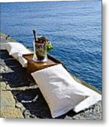 Champagne With Two Pillows Metal Print