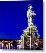 Charles Bridge Statue Of St John Of Nepomuk     Metal Print by Jon Berghoff