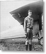 Charles Lindbergh American Aviator Metal Print by Photo Researchers