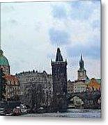 Charles Street Bridge And Old Town Prague Metal Print