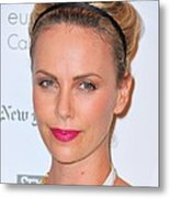 Charlize Theron Wearing A Jennifer Behr Metal Print