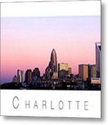 Charlotte Nc Skyline Pink Sky Metal Print