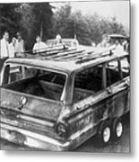 Charred Remains Of Station Wagon Driven Metal Print