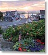 Chatham Fish Pier Summer Flowers Cape Cod Metal Print by John Burk