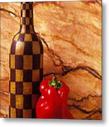 Checker Wine Bottle And Red Pepper Metal Print by Garry Gay