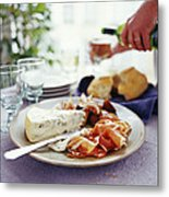Cheese And Ham Meal Metal Print