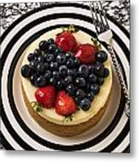 Cheese Cake On Black And White Plate Metal Print