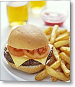 Cheeseburger And Chips Metal Print by David Munns