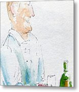 Chef In Action Metal Print