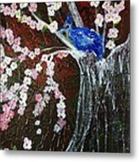 Cherry Blossom And Blue Bird  Metal Print by Pretchill Smith