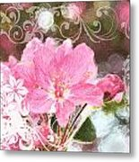 Cherry Blossom Art With Decorations Metal Print