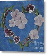 Cherry Blossom Heart Metal Print