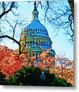 Cherry Blossoms And Capital Dome Metal Print