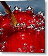 Cherry Bubbles Under Water Metal Print